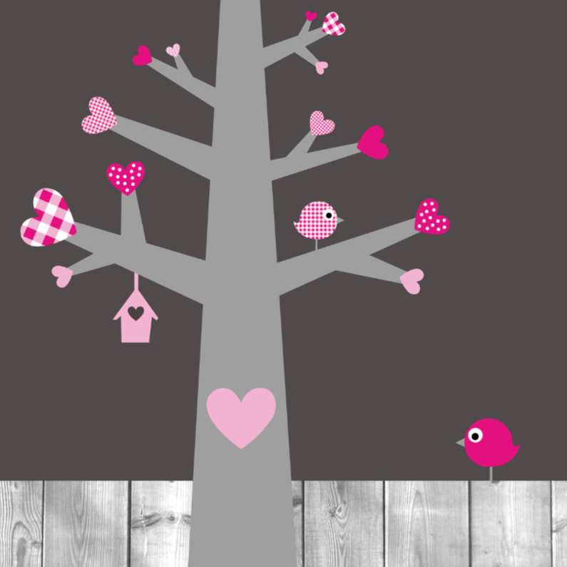 Felicitatiekaarten - Hartjesboom roze