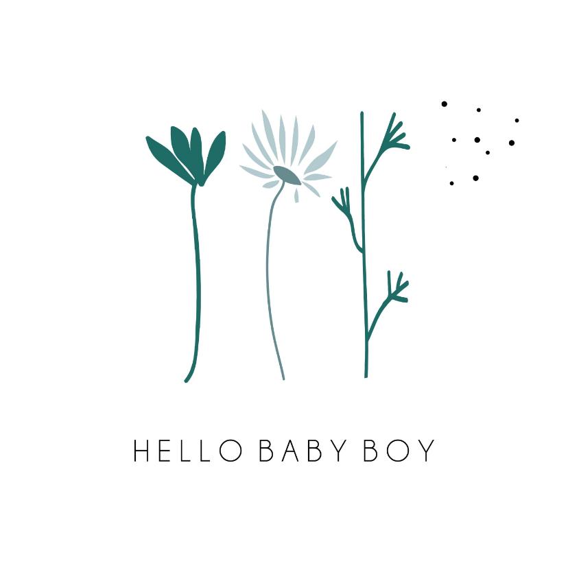Felicitatiekaarten - Hello Baby Boy, schattige bloemen