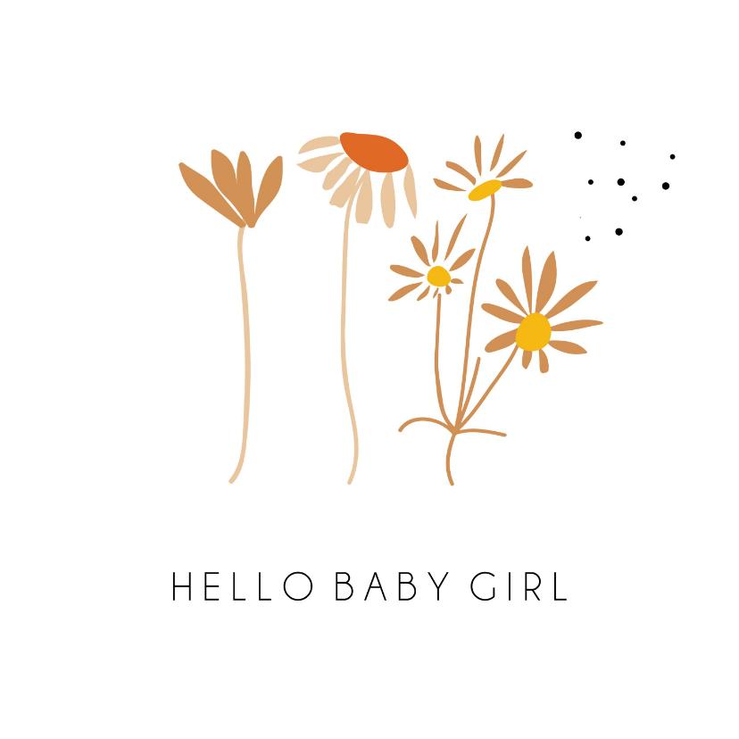 Felicitatiekaarten - Hello baby girl schattige bloemetjes