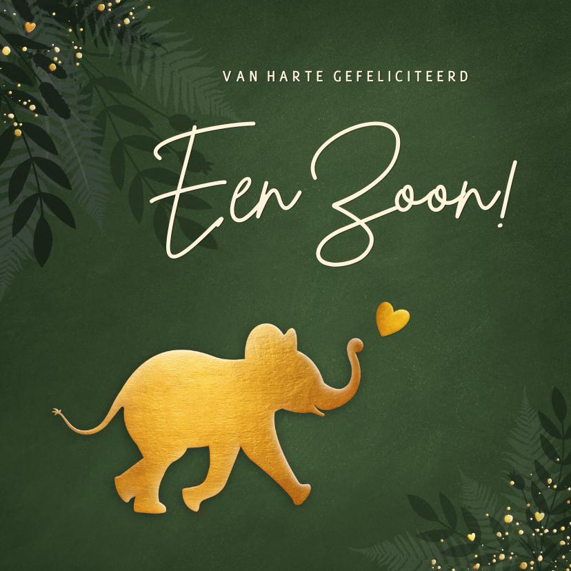 Felicitatiekaarten - Hip jungle felicitatiekaartje geboorte jongen met olifant