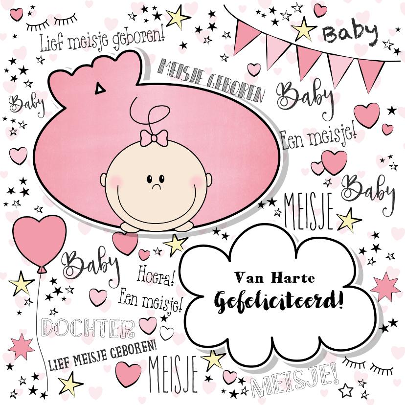 Felicitatiekaarten - Hippe felicitatie kaart in handlettering-stijl met een baby
