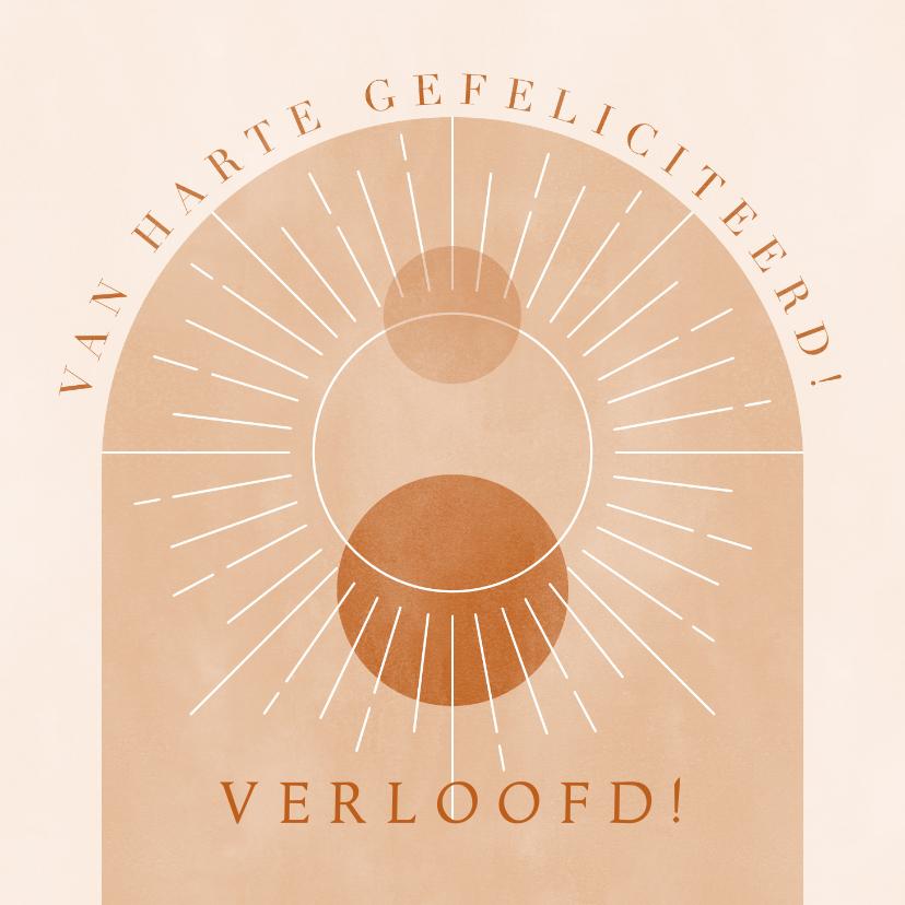 Felicitatiekaarten - Hippe felicitatie verloving met minimalistische vormen & zon