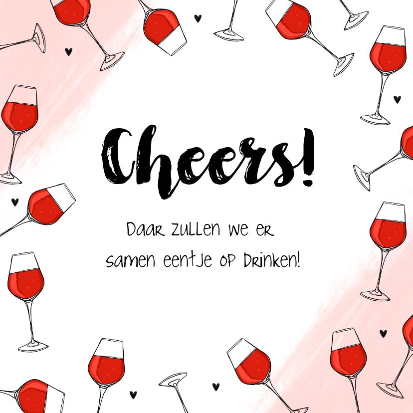 Felicitatiekaarten - Hippe felicitatiekaart algemeen rode wijn cheers