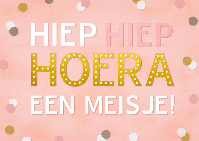 Felicitatiekaarten - Hippe felicitatiekaart geboorte meisje roze met confetti