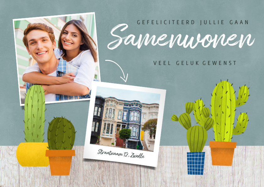 Felicitatiekaarten - Hippe felicitatiekaart met cactussen, hout en foto's