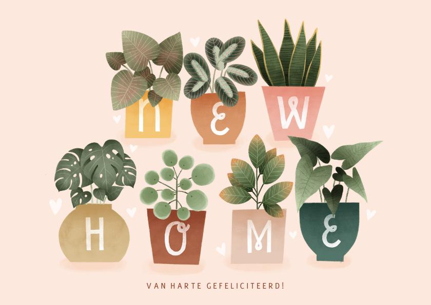 Felicitatiekaarten - Hippe felicitatiekaart new home met plantjes en hartjes