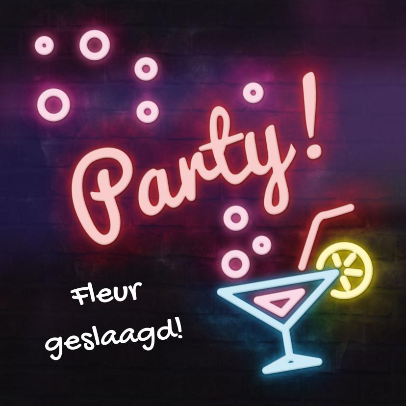 Felicitatiekaarten - Hippe neon uitnodiging  / felicitatiekaart