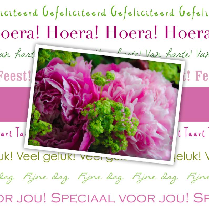 Felicitatiekaarten - Hoera bloem roze