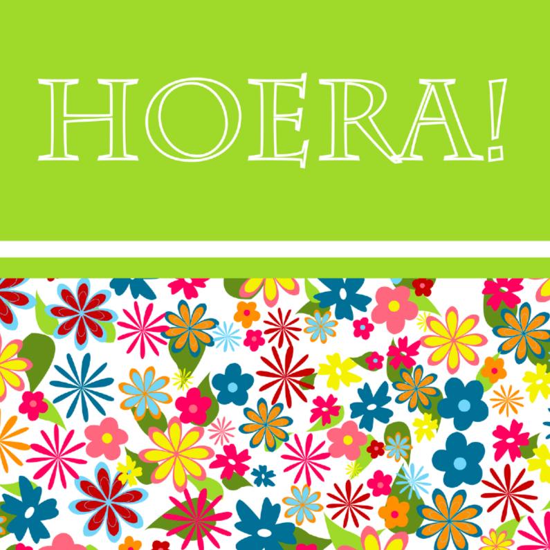Felicitatiekaarten - Hoera bloemen felicitatiekaart