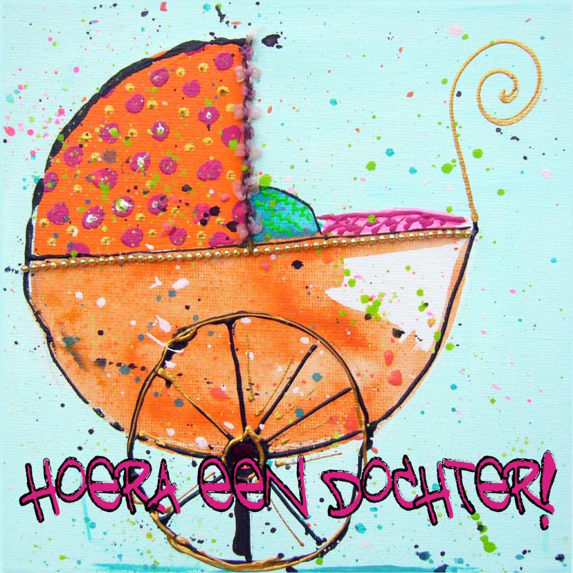 Felicitatiekaarten - Hoera een dochter kinderwagen