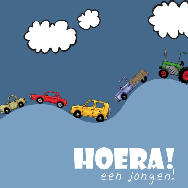 Felicitatiekaarten - hoera een jongen - autos