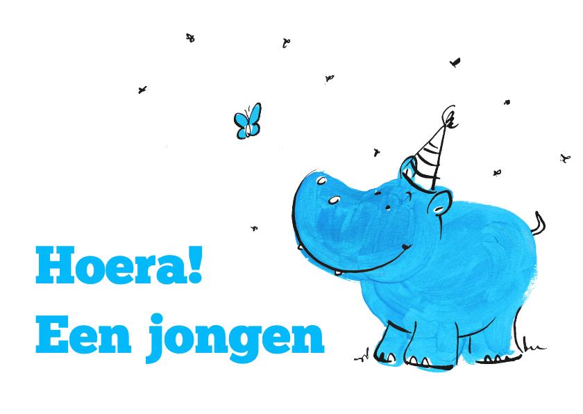 Felicitatiekaarten - Hoera een jongen Nijlpaard