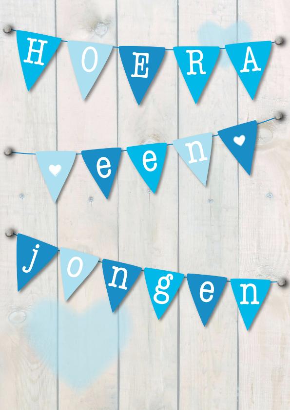 Felicitatiekaarten - Hoera een jongen, slinger blauw