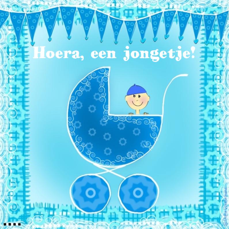 Felicitatiekaarten - Hoera een jongetje lichtblauw
