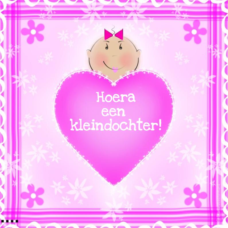 Felicitatiekaarten - Hoera een kleindochter pink