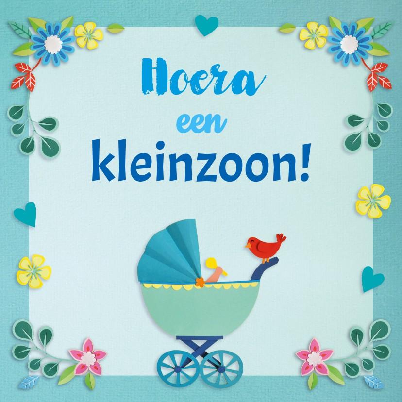 Felicitatiekaarten - Hoera een kleinzoon! bloemen