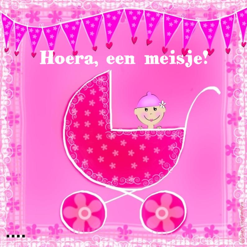 Felicitatiekaarten - Hoera een meisje roze