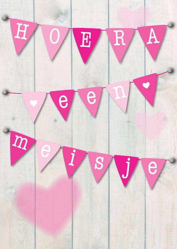 Felicitatiekaarten - Hoera een meisje, slinger roze