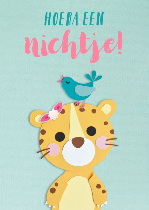 Felicitatiekaarten - Hoera een nichtje! baby panter