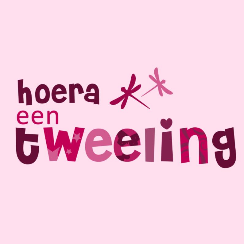 Felicitatiekaarten - Hoera een tweeling meisjes JVT