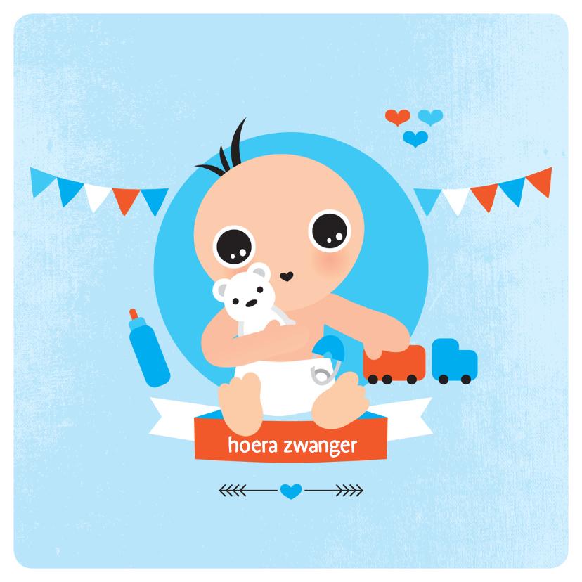 Felicitatiekaarten - hoera zwanger jongen geboorte