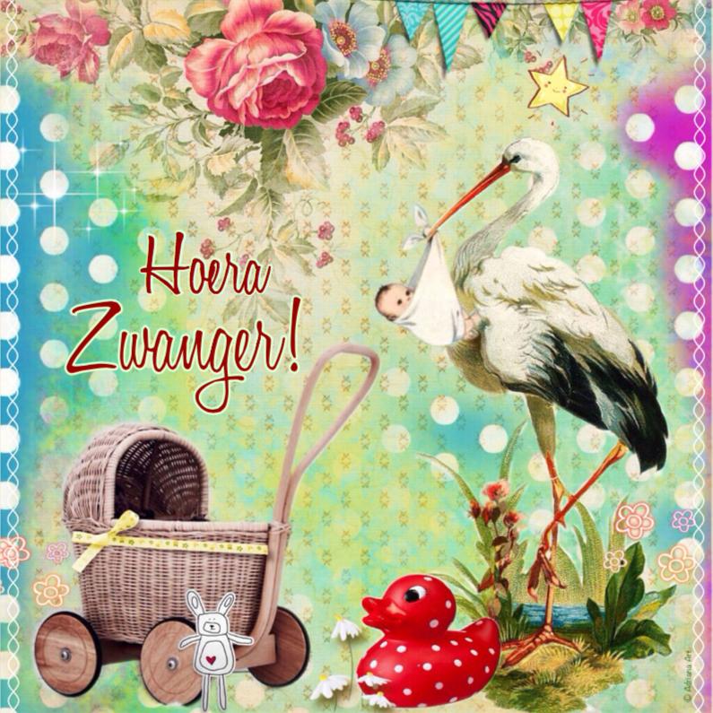 Felicitatiekaarten - Hoera Zwanger Mixed Media
