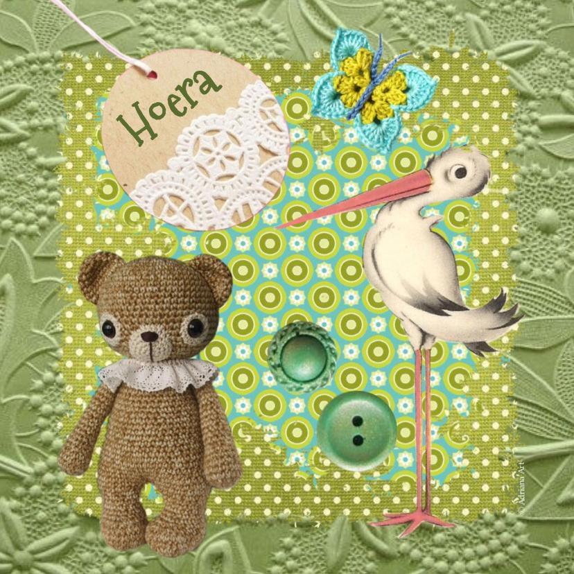 Felicitatiekaarten - Hoera zwanger ooievaar