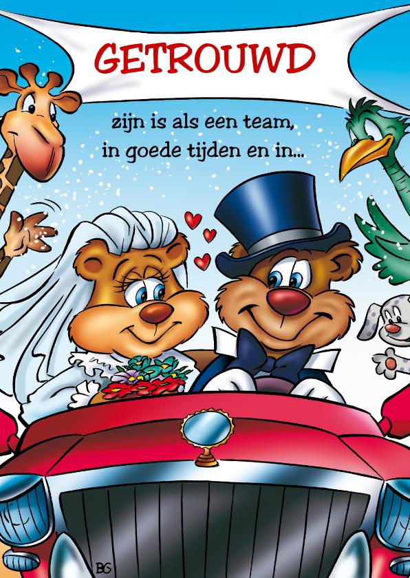 Felicitatiekaarten - huwelijk 2 beren pas getrouwd