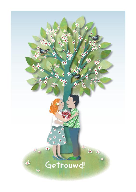 Felicitatiekaarten - Huwelijk-Cherry-Blossom-Tree
