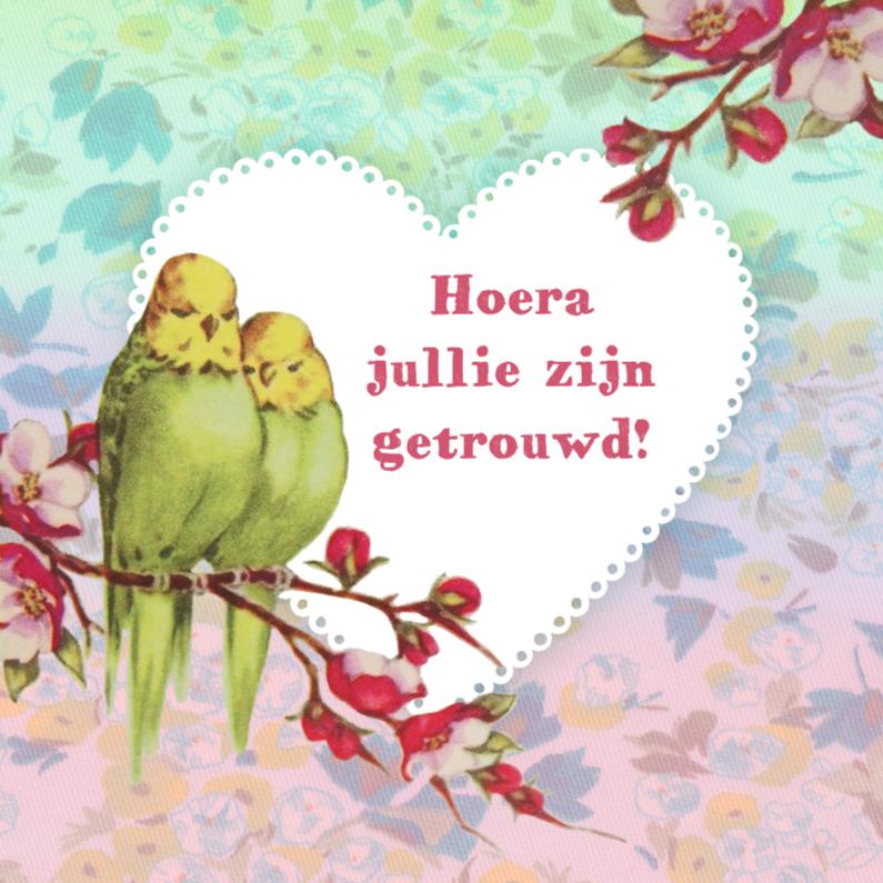 Huwelijks felicitatie parkieten felicitatiekaarten