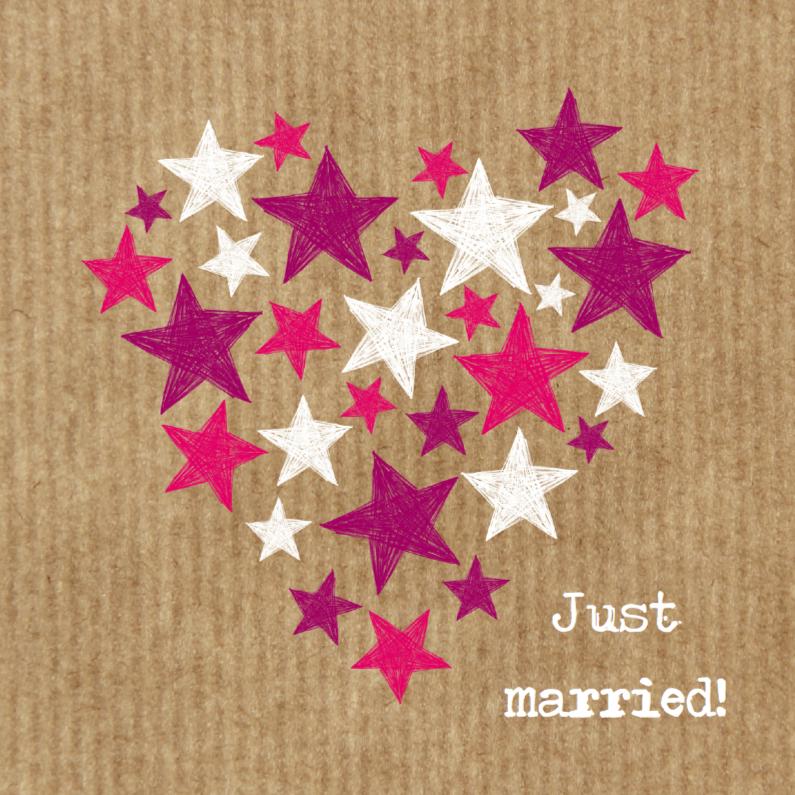 Felicitatiekaarten - Huwelijkshart met sterren