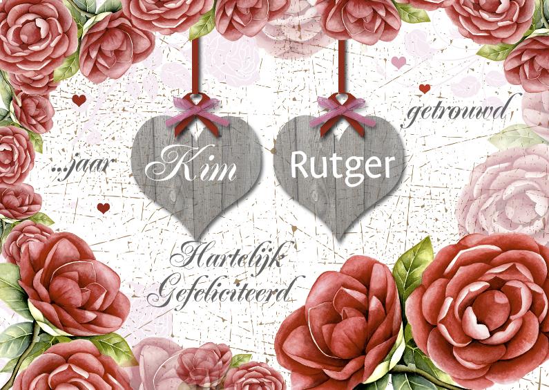 Felicitatiekaarten - huwelijksjubileum camelia hout