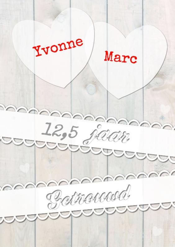 Felicitatiekaarten - Huwelijksjubileum eigen naam-ByF