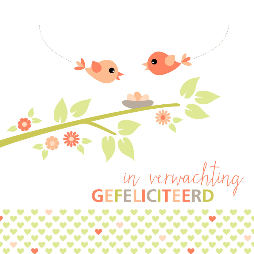 Felicitatiekaarten - In verwachting kaart vogelnestje