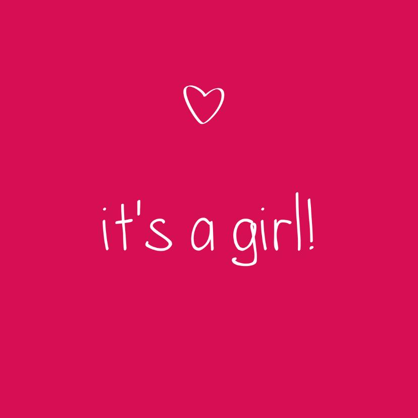 Felicitatiekaarten - it's a girl, handschrift