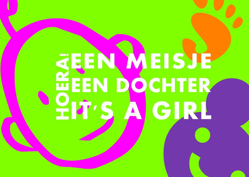Felicitatiekaarten - It's a girl meisje geboren