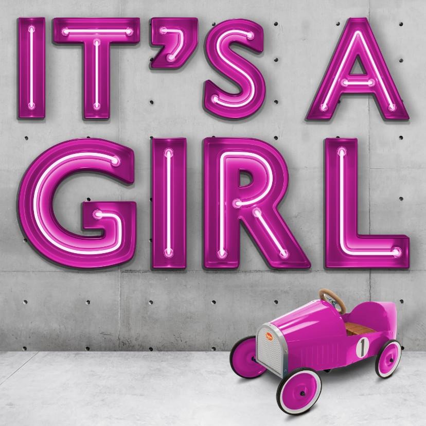 Felicitatiekaarten - It's a girl stoere industriële geboortekaart voor meisje