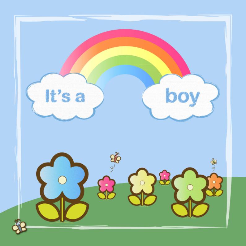 Felicitatiekaarten - its a boy met regenboog en bloemen