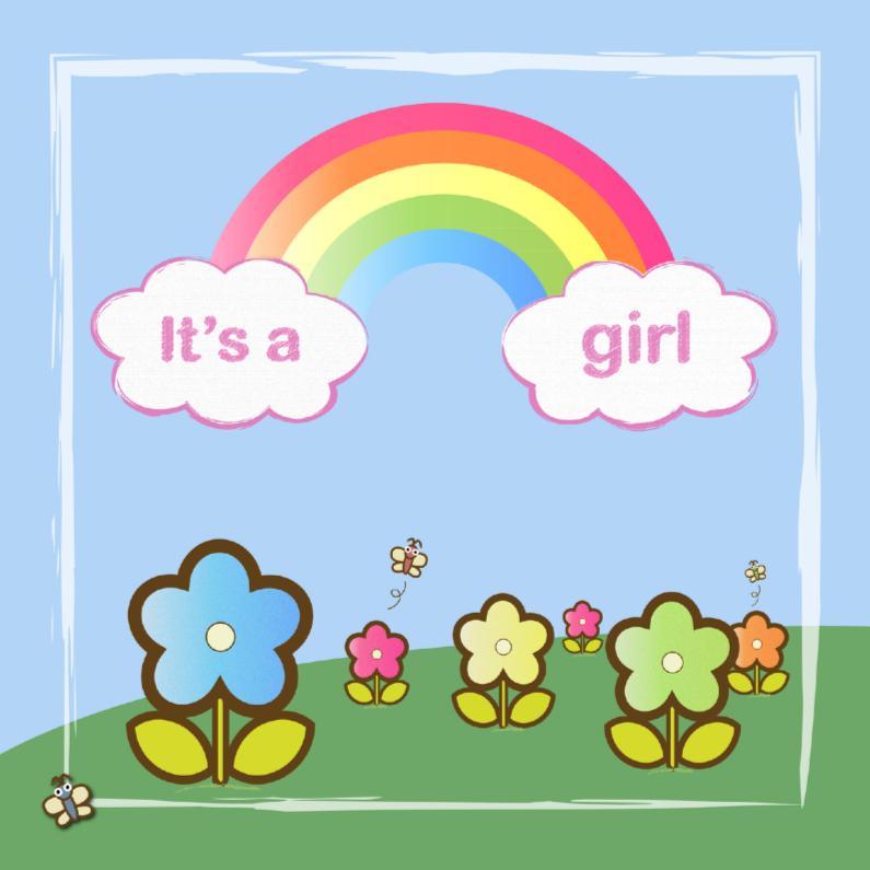 Felicitatiekaarten - its a girl met regenboog en bloemen