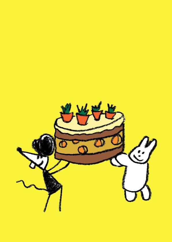 Felicitatiekaarten - Joep & Hop brengen taart