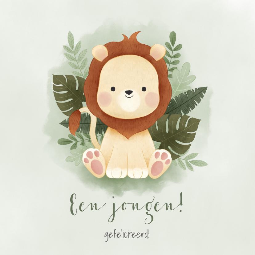 Felicitatiekaarten - Jungle felicitatiekaart voor jongen met leeuwtje