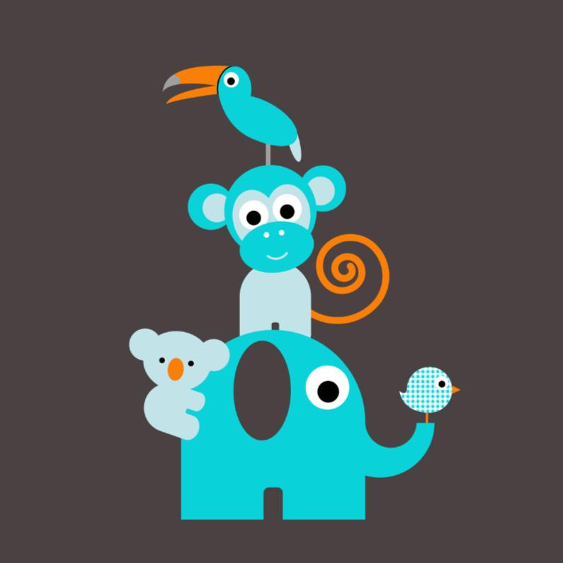 Felicitatiekaarten - Jungledieren blauw