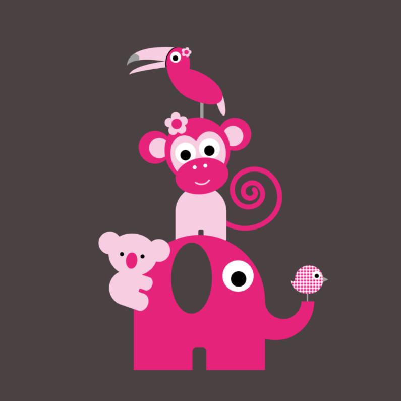 Felicitatiekaarten - Jungledieren roze