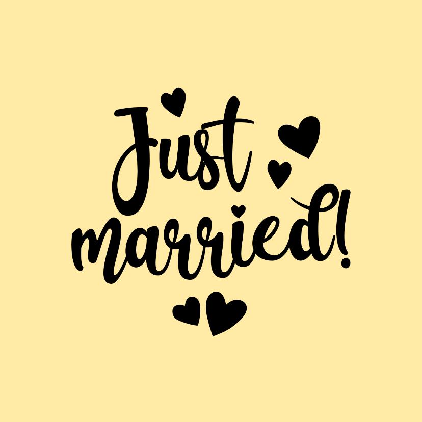 Felicitatiekaarten - Just married - black and colour - felicitatiekaart