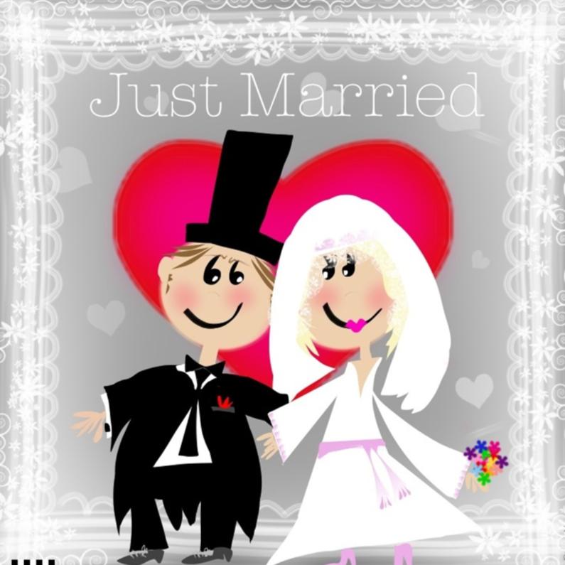 Felicitatiekaarten - Just married bruidspaar en rood hart