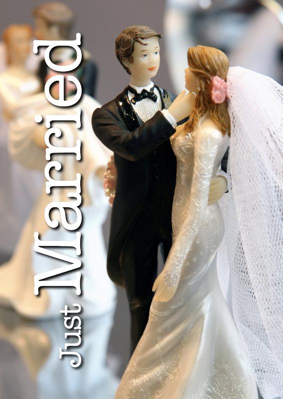 Felicitatiekaarten - Just Married - Bruidspaar taart
