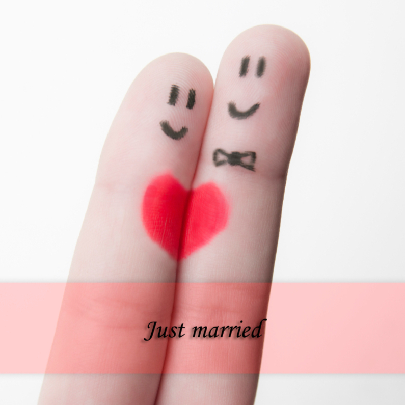 Felicitatiekaarten - Just married fingers grappig