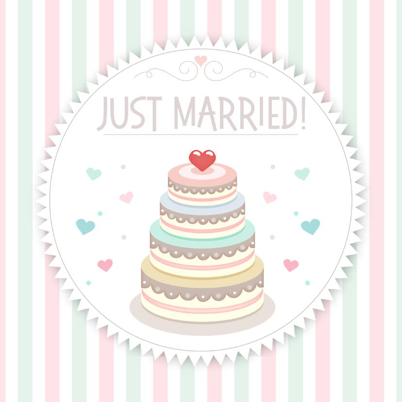 Felicitatiekaarten - Just Married taart - TW