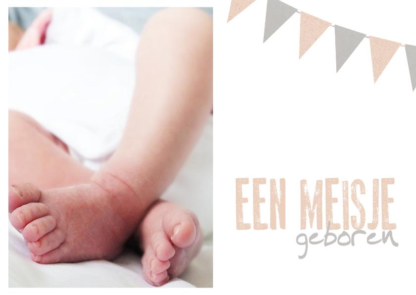 Felicitatiekaarten - Kaart een meisje geboren slinger