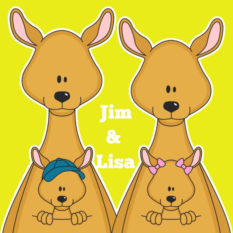 Felicitatiekaarten - Kangoeroe tweeling j en m